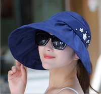 Summer Fashion Women Wide Brim Roll Up Vider Top Sun Beach Hat caps, Anti - UV Visers Cap Foldable