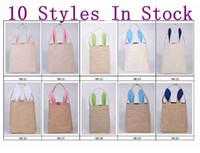 Wholesale 10 styles Cotton Linen Easter Bunny Ears Basket Bag For Easter Gift Packing Easter Handbag For Child Fine Festival Gift cm