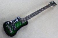 Precio de Guitarra de la mano izquierda verde-Fácil de tomar verde personalizado verde oscuro Hofner Shorty Travel Guitar Protable Mini guitarra eléctrica Maple Neck con bolsa de algodón Gig