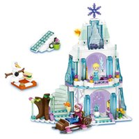 Wholesale Hug Me Princess Castle Building Blocks Anna Elsa Educational Brick Ice Castle Play Set Gift For Girl EC