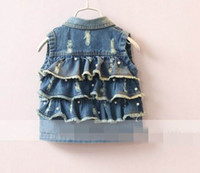 Wholesale 2017 Spring New Girl Waistcoat Back Three Layer Ruffle Pearl Denim Vest Children Clothing