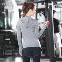 Wholesale New Hooded Fitness Clothes Women s Yoga Clothing Seamless Stitching Sport Clothing Training Stretch Long Sleeved Sportswear C08