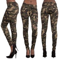 Wholesale Women Lady Girls Casual Fashion Outdoor Sports Slim Hole Elastic Camouflage Cotton Leggings Trousers Pants Clothing