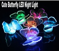 Wholesale New strange Lifelike Butterfly LED Night Lights Wedding Room Decors Baby Night Light nice packing color