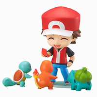Wholesale Pocket Monster Go Action Figure Toy Nendoroid Ash Ketchum Zenigame Charmander Bulbasaur Poke Red Anime Collectible Model Figure Set PGH01