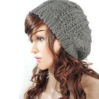 Las mujeres al por mayor-NUEVAS mujeres Baggy Beret Chunky tricó trenzado Beanie Sombrero Gorra de esquí gris claro