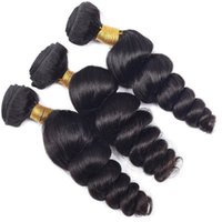 Wholesale Vinsteen Uprocessed A Brazilian Human Hair Extensions Natural Black inch Loose Wave Human Hair Weaves