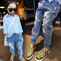 Wholesale boy girl child casual jeans children s autumn clothing child trousers push up casual trousers