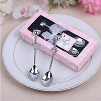 Wholesale 50 sets Stainless steel LOVE Drink Tea Coffee Spoon Bridal Shower Wedding Party Favor Gift Guests Wedding Souvenirs Event Party Supplies
