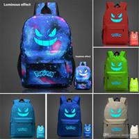 Wholesale Poke ghost Pocket printing Monster Pocket kids Monster Backpacks Bag Geng ghost luminous Poke mon children canvas Backpack Go school package