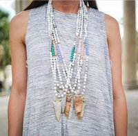 arrowhead necklace - Arrowhead Necklace Marble Effect Turquoise Beads Necklace with Crystal Hint RANDOM COLORS