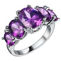 Wholesale Ring Luxury fashion jewelry silver Plated Multicolor CZ Female wedding rings rainbow color rings for women love gift