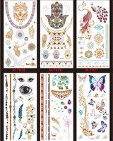 belly band design - Premium Metallic Tattoos Multi Patterns Shimmer Designs Temporary Fake Jewelry Tattoos Bracelets Wrist Arm Bands Tattoo Sticker WST004