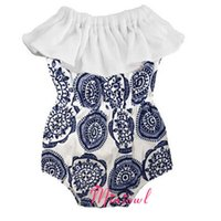 Wholesale 2017 Baby Blue And White Clothes Girls Newborn Romper Infant Tube Onesies Toddle Jumpsuit Summer Clothing For