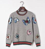 beading butterfly patterns - new autumn winter butterfly patterns colored sequin beading embroidery gray black white pullovers knitted sweater women