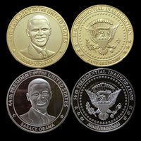 america obama - 2 set The president of United states Barack Obama America silver k gold plated souvenir coin set Christmas gift