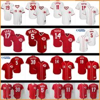 banc johnny achat en gros de-Hommes 2017 MLB Baseball Cincinnati Reds jerseys 19 # Joey Votto Johnny Bench Pete Rose Ken Griffey Jr. Barry Larkin Chris Sabo jersey