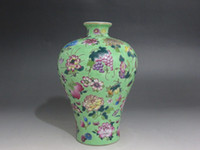 antique chinese china porcelain - Chinese Famille Rose porcelain Vase Painted Flowers grape peach Qianlong mark