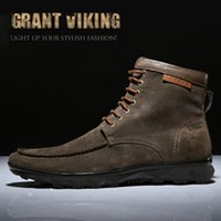 Wholesale Khaki Suede Men Leather Boots British Style Men s Ankle Boot for Autumn Winter Male Nubuck Leather Boots