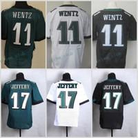 Wholesale 2017 Rush Legend Black Elite Alshon Jeffery New Green White Carson Wentz Team Color Cheap MENS Stitched Football Jerseys