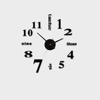 adhesive wall clock - Acrylic Best Home Decoration DIY Wall Clock Unique Large number Stickers Self Adhesive home Decor Modern Wall Clocks