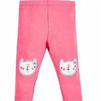 Wholesale Cute Pink Girls Legging Pants Cats Cartoon Cotton Autumn Pants Lovely Plain Kids Tights for Spring and Fall