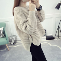 Wholesale 2016 New Patter Autumn And Winter Loose and comfortable Lady Soild Color Long Sleeved Sweaters and Pullover
