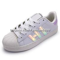Wholesale Fashion Classic Shoes Men Women Shoe White Shoe Laser Dazzle see Superstar Shell Head Sneakers Size Drop Shipping