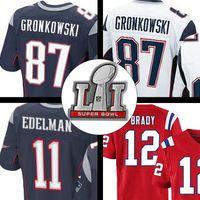 Wholesale Super Bowl tom brady rob gronkowski julian edelman jersey Blue White Red ELITE Stitched Logos hot sale