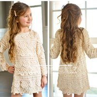 Wholesale Lace Free 7years Girl - 2017 OEM Top Quality Spring Autumn Crochet Full Lace Girls tutu ruffle dresses girls double layer lace party dresses 2-7years free ups ship