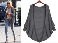 Wholesale Female Cardigan Sweater Women Batwing Long Sleeve Autumn Winter Loose Blouse Solid Color Women s Sweaters Poncho Cardigans