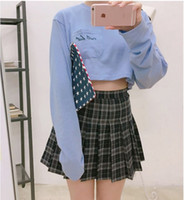 achat en gros de laine mini-jupes des femmes-Printemps Des Femmes 2017 Automne Nouveau Design Mode Haute Taille Mini Mini Dentelle Plissé Plaid Femmes Jupes