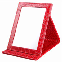 achat en gros de miroir en cuir rouge-Red S: 12 * 17.5 * 1.6CM Alligator Pattern Portable Foldable Makeup Mirror Miroir cosmétique en cuir Women Beauty Make Up wholesale
