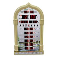Wholesale Muslim Mosque Azan Clock Complete azan for all prayers Cites Fajr Iqama Alarm with Qibla Direction