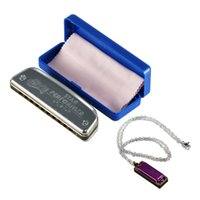 Wholesale-Huang Silver Diatonic Blues Harmonica 10 Agujeros Clave de A, B, C, D, E, F, G, bA, bB, bE, C #, F # Elige Mini Harmonica Necklace