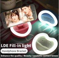 Wholesale LED Selfie Ring Light Flash Spotlight Circle Round Fill in Light Cellphone Photo Camera Lamp Speedlite for iphone plus Samsung Universal