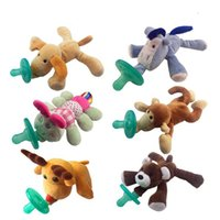 baby soother pacifier - Newborn Silicone Funny Baby Pacifier Clips Chain Animal Pacifiers With Plush Toy Soother Nipple Dog Monkey Worm