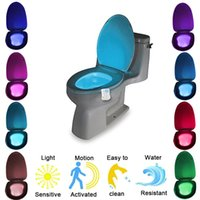 Wholesale LED Toilet Nightlight Motion Sensor Activated Light Battery operated Lamp Toilet Seat LED Lamp Bowl Bathroom NightLight Colors