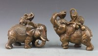 attract wealth - Chinese Bronze Copper Feng Shui Attract Wealth Yuanbao Gourd Elephant Pair