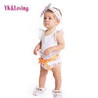 Summer organic kids shoes - Baby Girl White Rompers Cotton Arrow Short Pants Shoes Headband Sets For Summer Style Girls Sleeveless Newborn Cloth Kid Clothing Suit