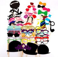 Wholesale 58pcs DIY Wedding Prop Hot Sales Photo Booth Props Creative and Funny Bearded Lips Mustache Wedding Party Decorations