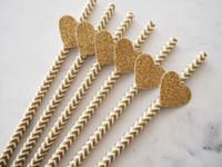 baby love bar - cheap Set of DIY gold glitter love heart Chevron Paper Straws party decorations wedding birthday bridal baby shower favors