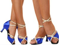 Wholesale popular shoes Professional Latin shoes Breathable friendship Mid heel Dance shoes Latin Imported satin Global BD