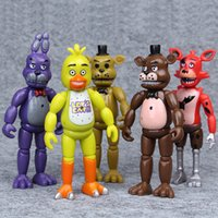 Wholesale 5pcs Five Nights At Freddy s Action Figure Toys Foxy Freddy Chica Freddy PVC model Dolls With LED Lights For Child Gifts cm