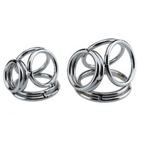 Wholesale Stainless steel penis ring cock ring testicle stretcher ball ring delay ejaculation sex ring Sex products for men penis