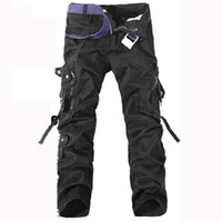 belted cargo pants - Spring Autumn Casual Men Straight Pants Cargo Pants Multi pocket Baggy Pants Men Troiusers without belt