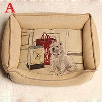 Wholesale 7 Design Retro Linen Dog Cat Bed Detachable Wash Puppy Cushion Pet Nest Bed House Cama Perro