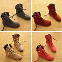 artificial suede fabric - Big Shoes Ankle Boots Women Artificial Suede Flat Heel Motorcycle Boots Spring Autumn Martin Woman Shoes