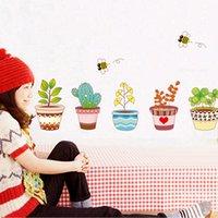 bee decals - 2015 New Wall Home Decor Decoration Mural Flowerpot Flower Bee Garden Kids Decal MTY3
