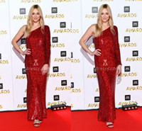 bbc lighting - Cheap Fearne Cotton Asymmetrical Shoulder One Long Sleeve Prom Dresses Red Sequins BBC Music Celebrity Party Queen Dress Evening Gowns